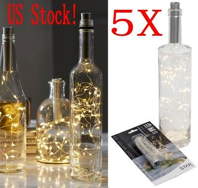 (5Pack 15 LED Cork Shaped String Fairy Night Light Wine Bottle Lamp Party Decor)