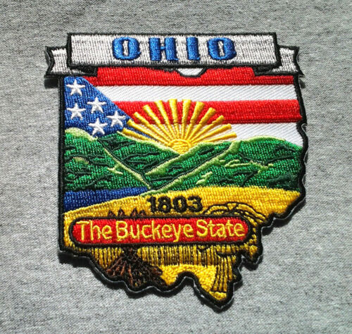 """OHIO STATE MAP (3-3/8"""") Biker Patch PM6736 EE"""