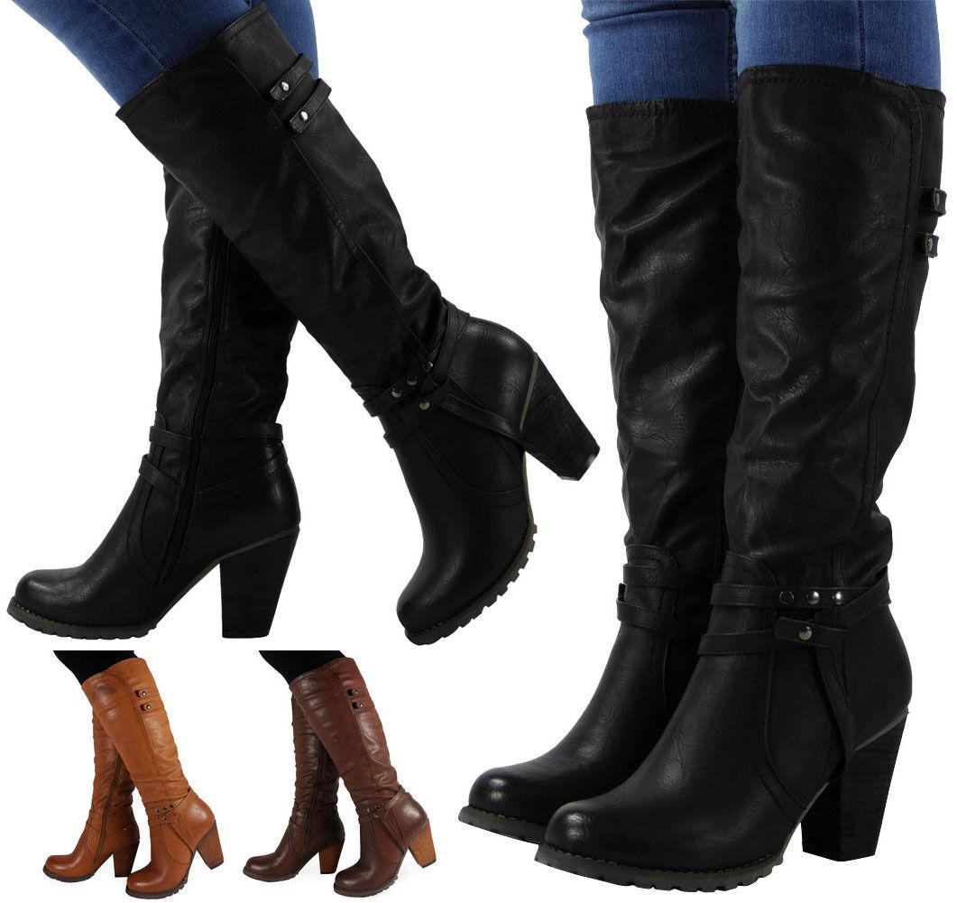 a05f61837f1 Details about LADIES WOMENS KNEE HIGH BIKER BOOTS BLOCK HIGH HEEL STUDS BLACK  BROWN TAN SIZE