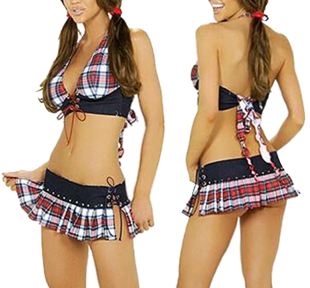 Women Sexy Lingerie Sleepwear School Girl Plaid Mini Skirt Costume Fancy Dress Clothing, Shoes & Accessories