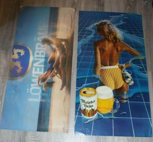 Vintage Lowenbrau & Meister Brau POSTERS  Sexy Girl Beer Poster