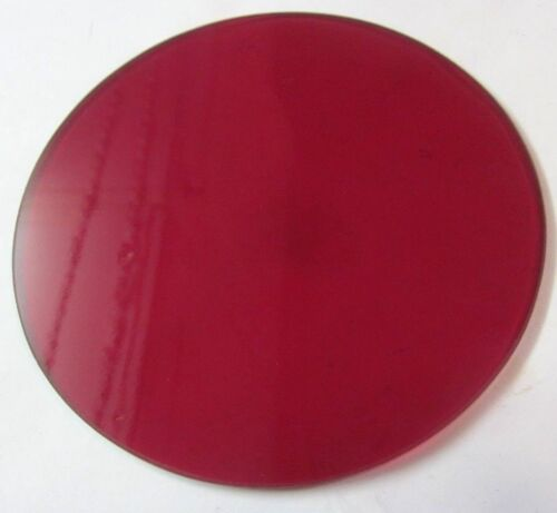 """Pyrex Glass 4-5/16"""" Round Dark Red Theater Stage Light Gel Flat 1 Diffuser Lens"""