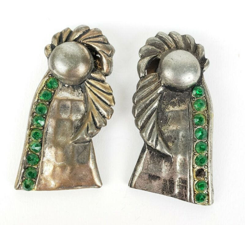 Pair Of Antique Art Deco Silver Tone & Green Stone Fur Dress Clips