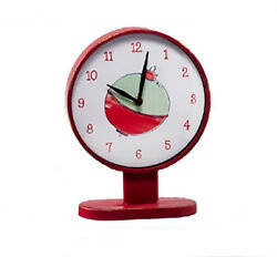 Fishing Bobber Table Top Desk Clock Analog Vintage Metal Distressed Aged Red