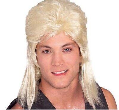 Adult Blonde Shoulder Length Joe Dirt Redneck 80's Mullet Wig Hair Piece  (Joe Dirt Wig)