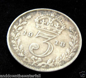 SOLID-SILVER-3-d-1918-Coin-Fine-Old-World-War-I-France-King-George-V-Antique-WOW