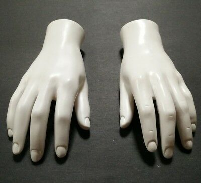 Mn-handsm-wf Pair Of White Left Right Male Mannequin Hand Displays