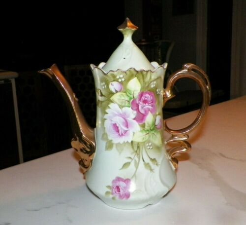 LEFTON CHINA GREEN WITH BIG PINK CABBAGE ROSES TALL COFFEE TEA POT 3065