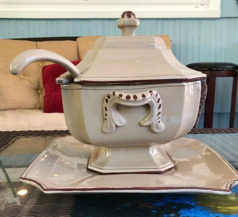 Large, Vintage, 4-piece Soup Tureen