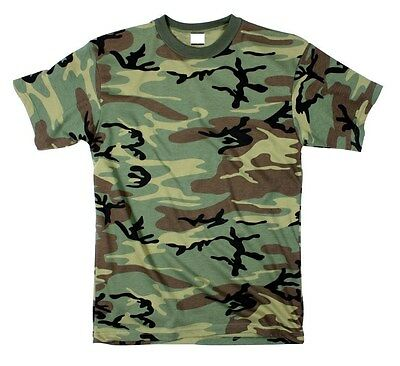 (T-SHIRT WOODLAND CAMO POLY COTTON BLEND MENS steeswing (army bdu navy) S TO 7X)