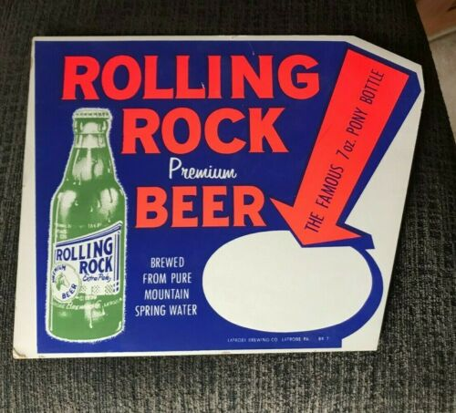 VINTAGE ROLLING ROCK BEER LATROBE BREWING CO ADVERTISING SIGN LATROBE PA
