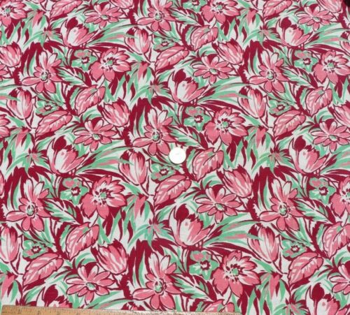 """Genuine Vintage Cotton Floral Feedsack Fabric-Material c1930-1940s~L-21"""" X W-33"""""""