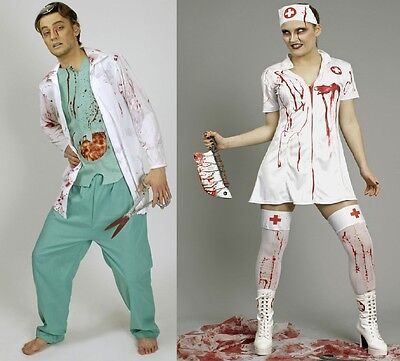 Krankenschwester Arzt Kostüme (Kostüm Zombie blutige Krankenschwester blutiger Chirurg Doktor Arzt Halloween)