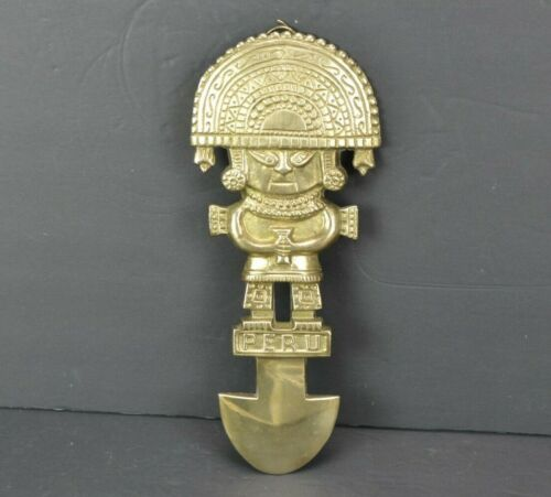 """Vintage Peru Ceremonial Tumi Knife 11"""" Tall Solid Brass Home Wall Decor Hanging"""