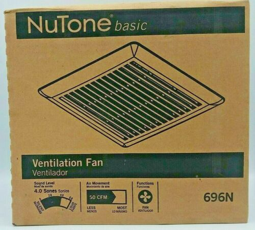 NuTune Wall Ceiling Bathroom Exhaust Fan White Compact 50 CFM Ventilation 696N