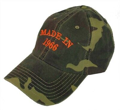 50th Birthday Hats (Over The HIll 50th Birthday Gift 'Made in 1966' White Embroidery Velcro Back)