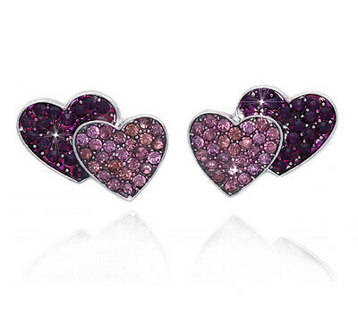 Purple Lavender Crystal Pave Double Heart Post Earrings Valentine's Day Gift ()