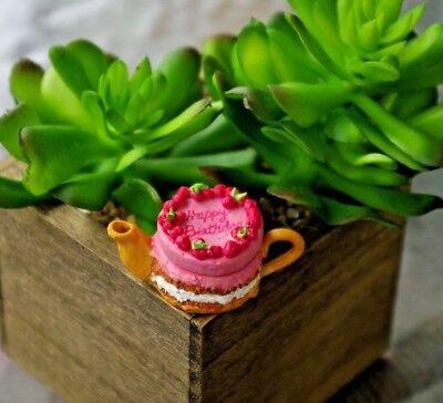 Dollhouse Miniature HAPPY BIRTHDAY PINK RASPBERRY CREAM CAKE Teapot Fairy Garden