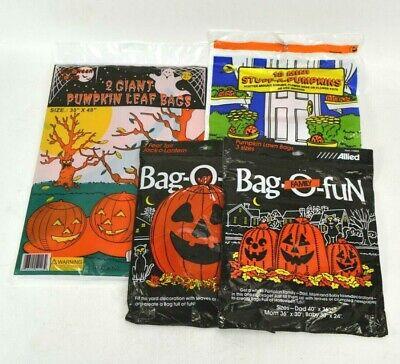 Vintage Halloween Pumpkin Jack-O-Lantern Lawn Yard Plastic Bag DecorationsAllied