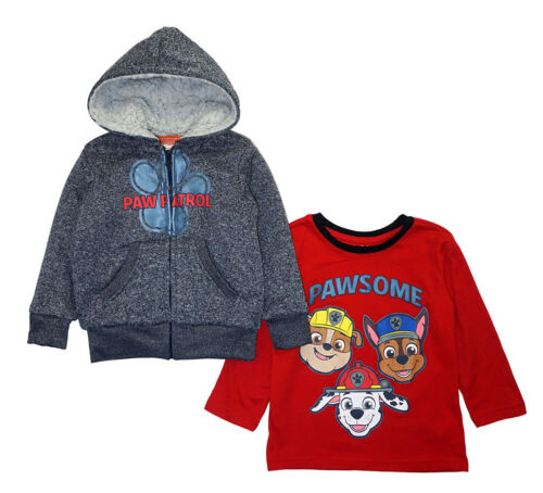 Paw Patrol Toddler Boys L/S Sherpa Hoodie & Top 2pc Set Size 2T 3T 4T
