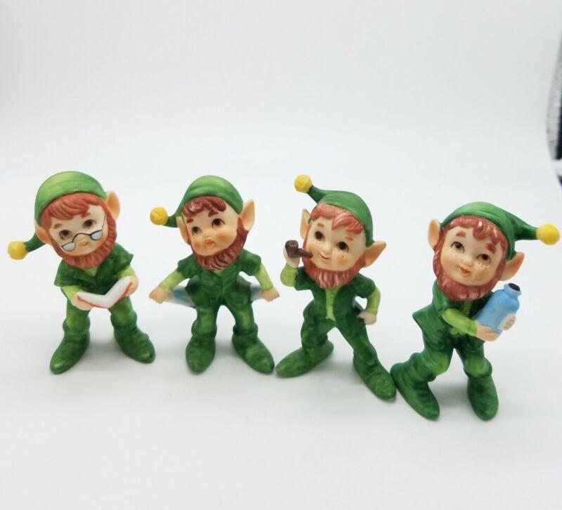 Vintage (4) Lefton Leprechauns Elves Pixie Procelain Figurines
