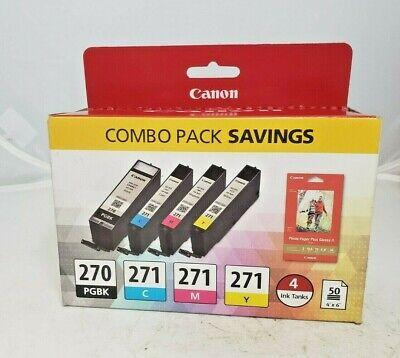 Genuine Canon 270/271 Combo Pack BLK/Tri-color+Photo Paper.New Stock Retail Box! Tri Colour Photo