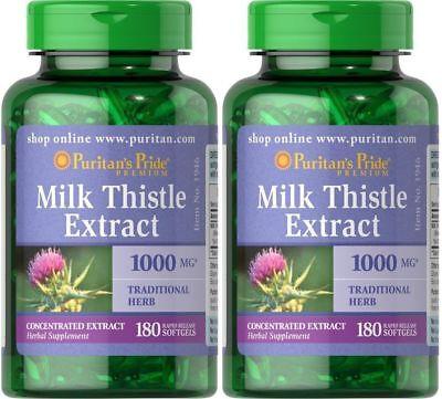 2X Puritans Pride Milk Thistle  Silymarin  Extract 1000 Mg  180 Softgels
