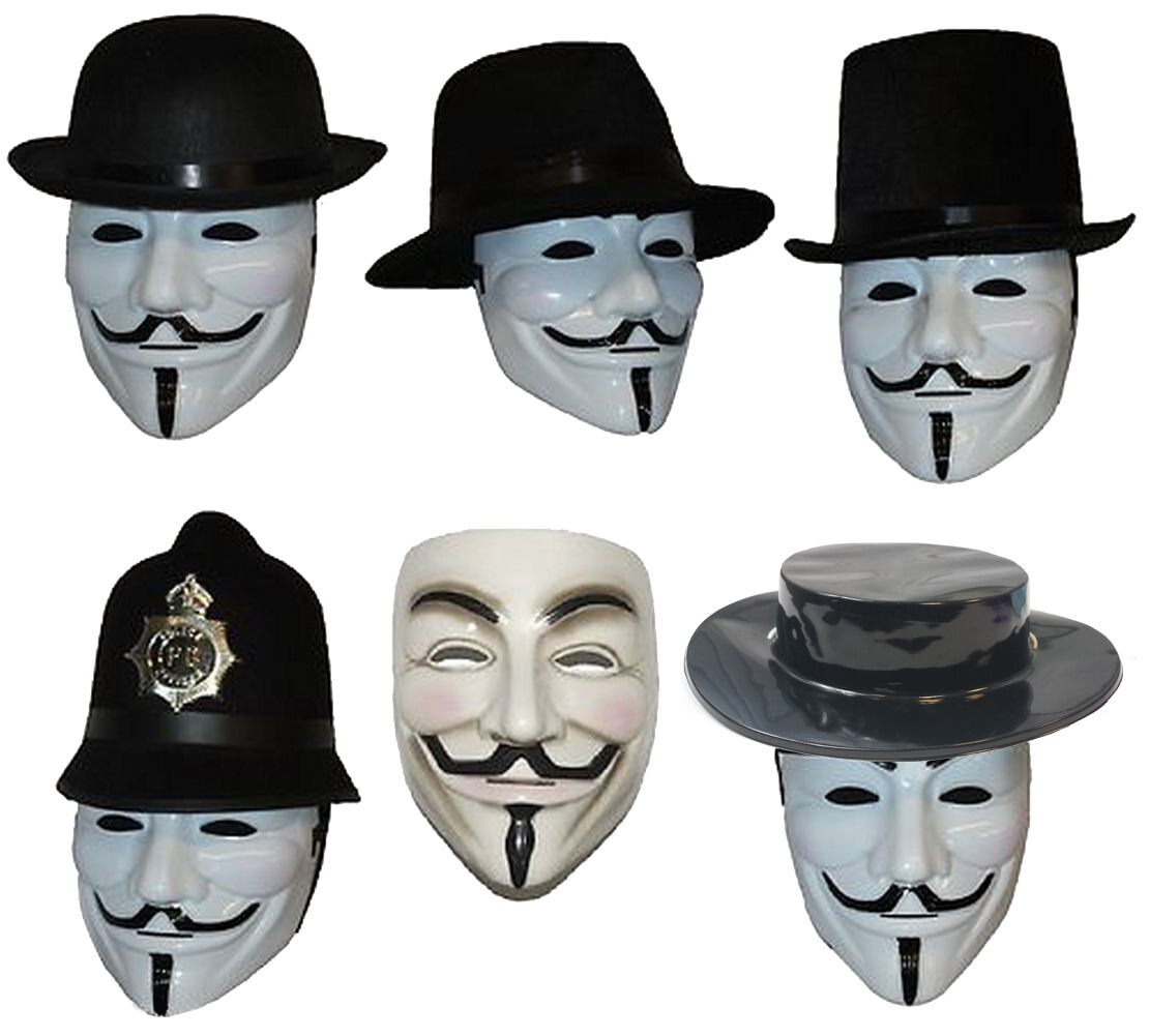Anonymous V for Vendetta Mask & Hat Guy Fawkes We Are 99% ...