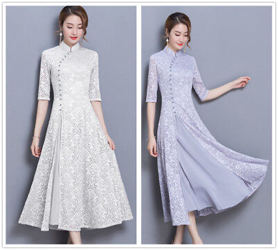 Chinese Style Long Gown (Chinese Style Lace Women's Long Slim Gown Shift Dress Cheongsam)