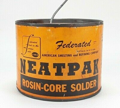 Vintage Federated American Smelting Neatpak Rosin Core 5050 Solder -4lbs 7oz