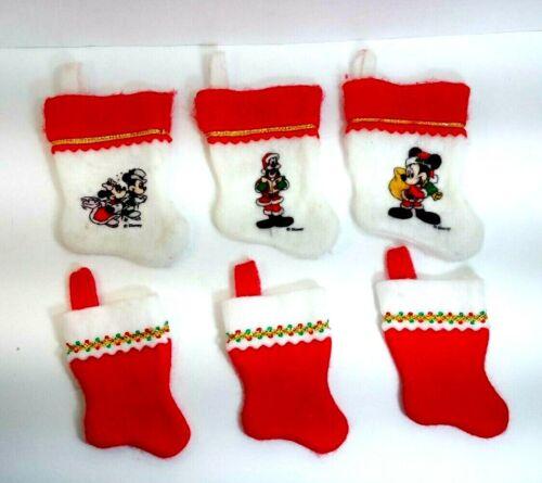 "Lot Of 6 Disney Mini Stockings: 3 with Mickey Minnie Goofy(7"") & 3 Plain(5.5"")"