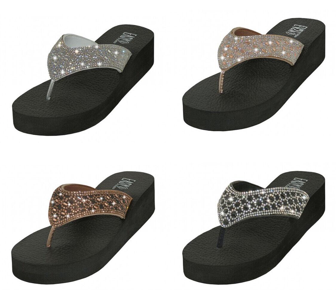 Women's Flip Flops Sandals Rhinestone Beaded Platform Wedge