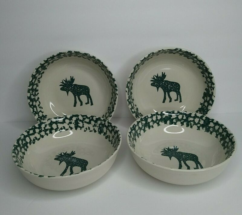 Tienshan Folk Craft Moose Country Set of 4 Cereal Soup Bowls Green Sponge
