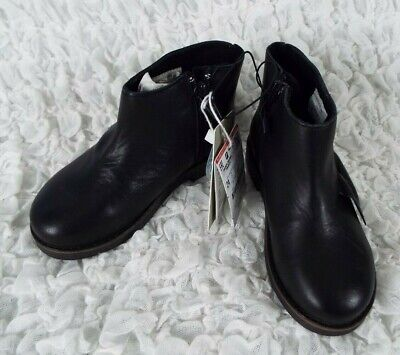 NWT ZARA Kids Black Leather Ankle Booties Boots Girls Sizes 6, 6.5, 7.5, 8