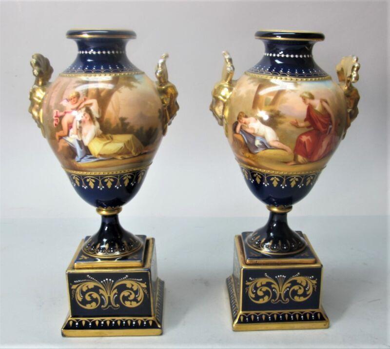 Fine Pair of 19th C. ROYAL VIENNA HAND-PAINTED Urn Vases  c. 1890  antique