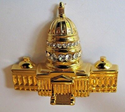 THE UNITED STATES CAPITOL RHINESTONE GOLD TONE LOVELY BROOCH BY MONET SIGNED - Capitol Costume