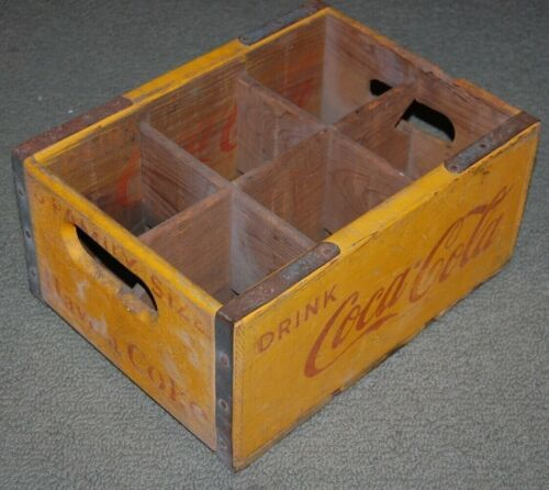Vintage Coca-Cola 6 Bottle Pack Carrier Crate Wooden Vintage