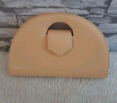 Jaques Vert bag half semi circle clutch bag beige