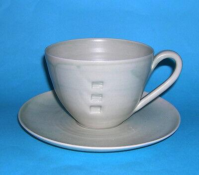 Studio Art Pottery - Attractive Individual Cup & Saucer Set - Potters Backstamp.