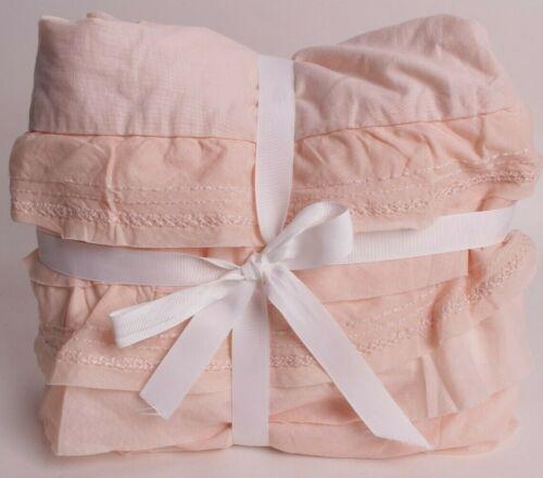 "New Pottery Barn Kids Sadie Ruffle Twin bed skirt 16"" drop, blush pink"