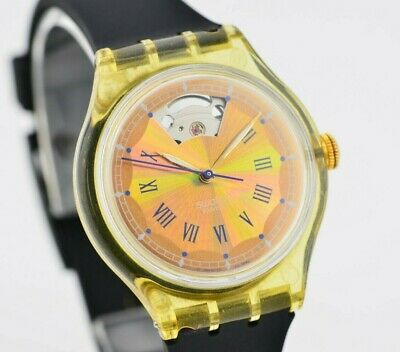 K487 Vintage Swatch Automatic Quartz Watch Gold Dial Original Swiss Made 144.1