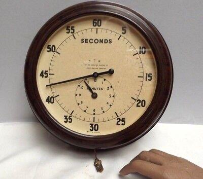 Clock [ Second Timer ]  Wall Clock [ Bakelite ] 1930's { War Dpt } Smiths [ Rare