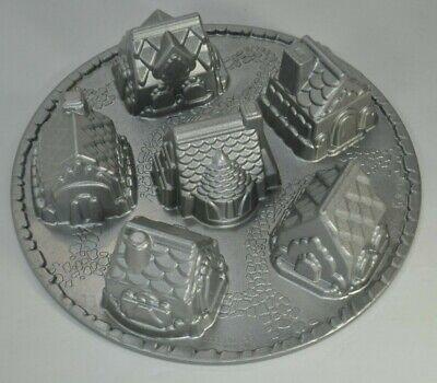 Nordic Ware Cozy Village 3D Cake Cakelet Baking Pan Dimensional Cast Aluminum