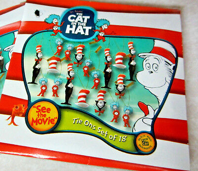 """THE CAT IN THE HAT~ DR.SEUSS"""" 1 Pack of 18 Miniature Ornaments DECORATIONS NIB"""