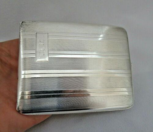 Elgin 925 Sterling Silver & Gilt Cigarette Case Box  120 grams ~ Mono JCP  XLNT