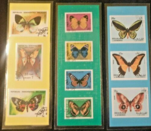 3 BOOKMARKS~ BUTTERFLY Laminated POSTAGE STAMPS BUTTERFLIES! Malagasy