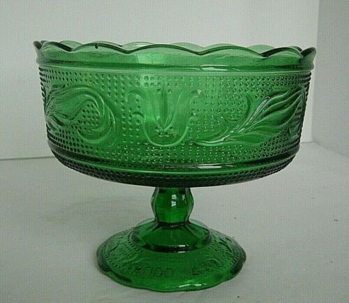 Vintage E O Brody co. M 6000  green pedestal compote tulip and feathers console