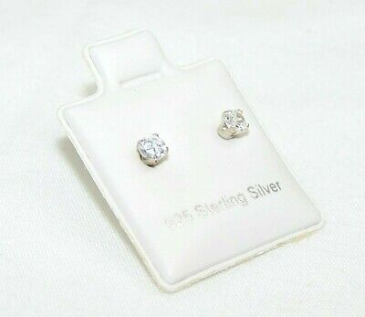 925 Sterling Silver Stud Earrings 3mm Round Clear CZ Cubic Zirconia Prong Set