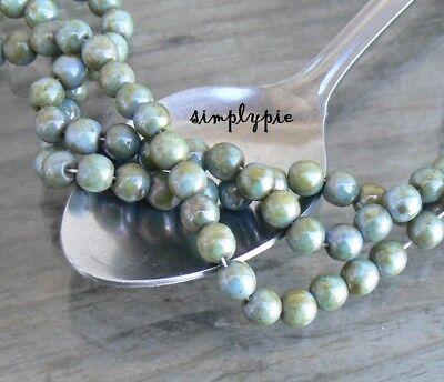 Sage Lumi Picasso Czech Round Glass Beads 6mm Druk 25