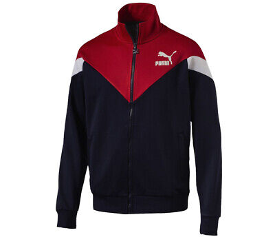 Puma MCS Track Jacket Top Mens Full Zip Activewear Navy Red  576771 06 P4E